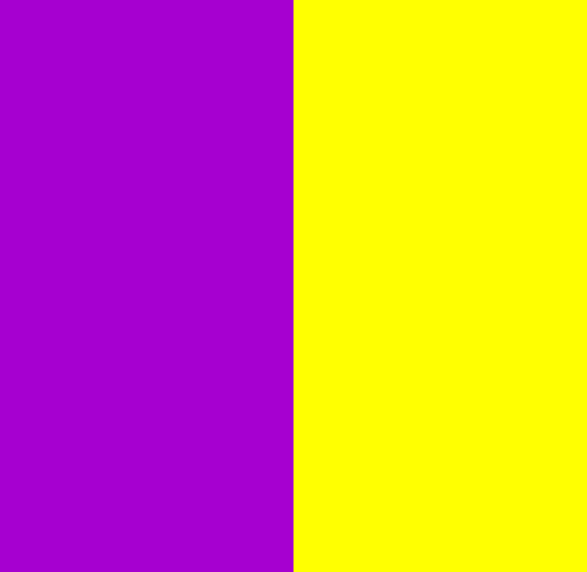 Two vertical bars of colour. Violet is on the left, yellow on the right.