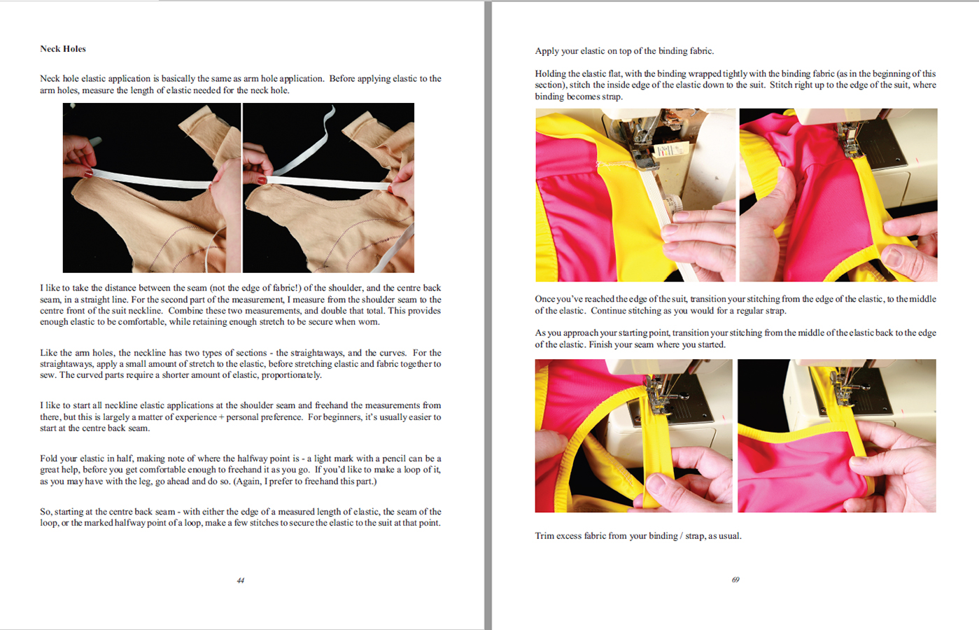 A scan of two sample instruction pages from Custom Swimwear.