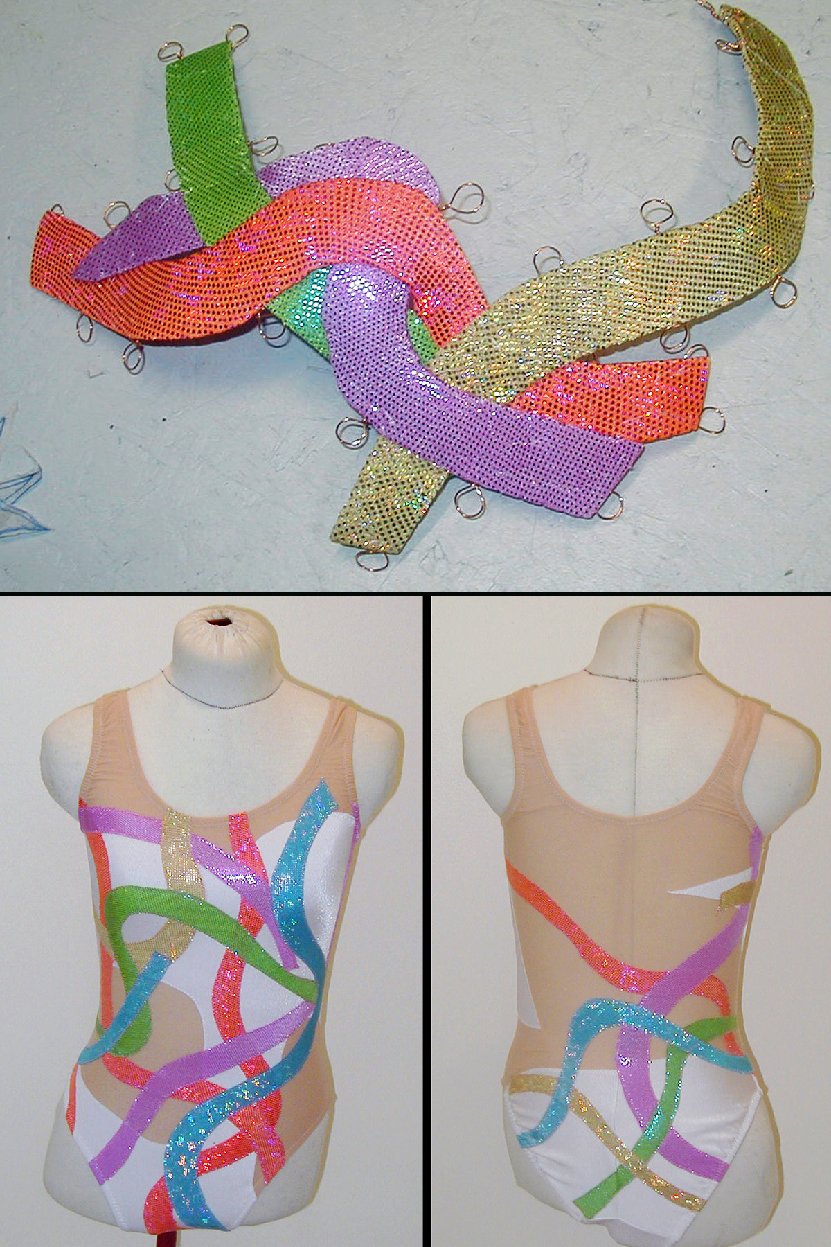 A 3 photo compilation image showing a colourful synchro headpiece, with a matching synchro swimsuit.