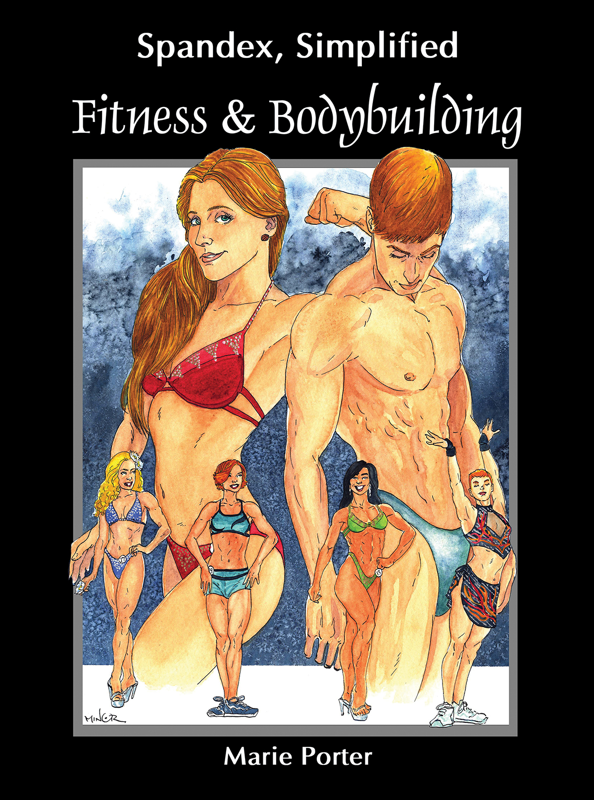 The cover image for Fitness & Bodybuilding. A watercolour image of various fitness competitors, against a black background.