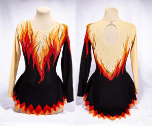 Front and back views of a beautiful figure skating dress. The lower part of the dress is black, turning into a flame design going up to the shoulders.