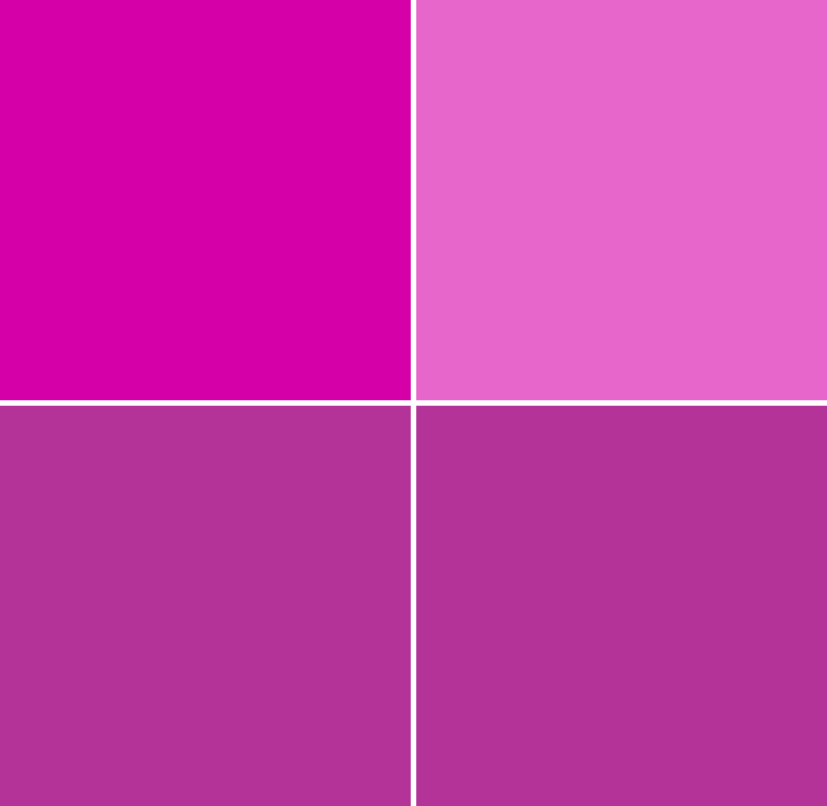 A grid of 4 blocks.  Each is coloured with a different version of a red-violet colour.