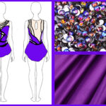 A 3 image compilation, showing some purple fabric, a small sketch of a purple skating dress, and a pile of purple rhinestones.