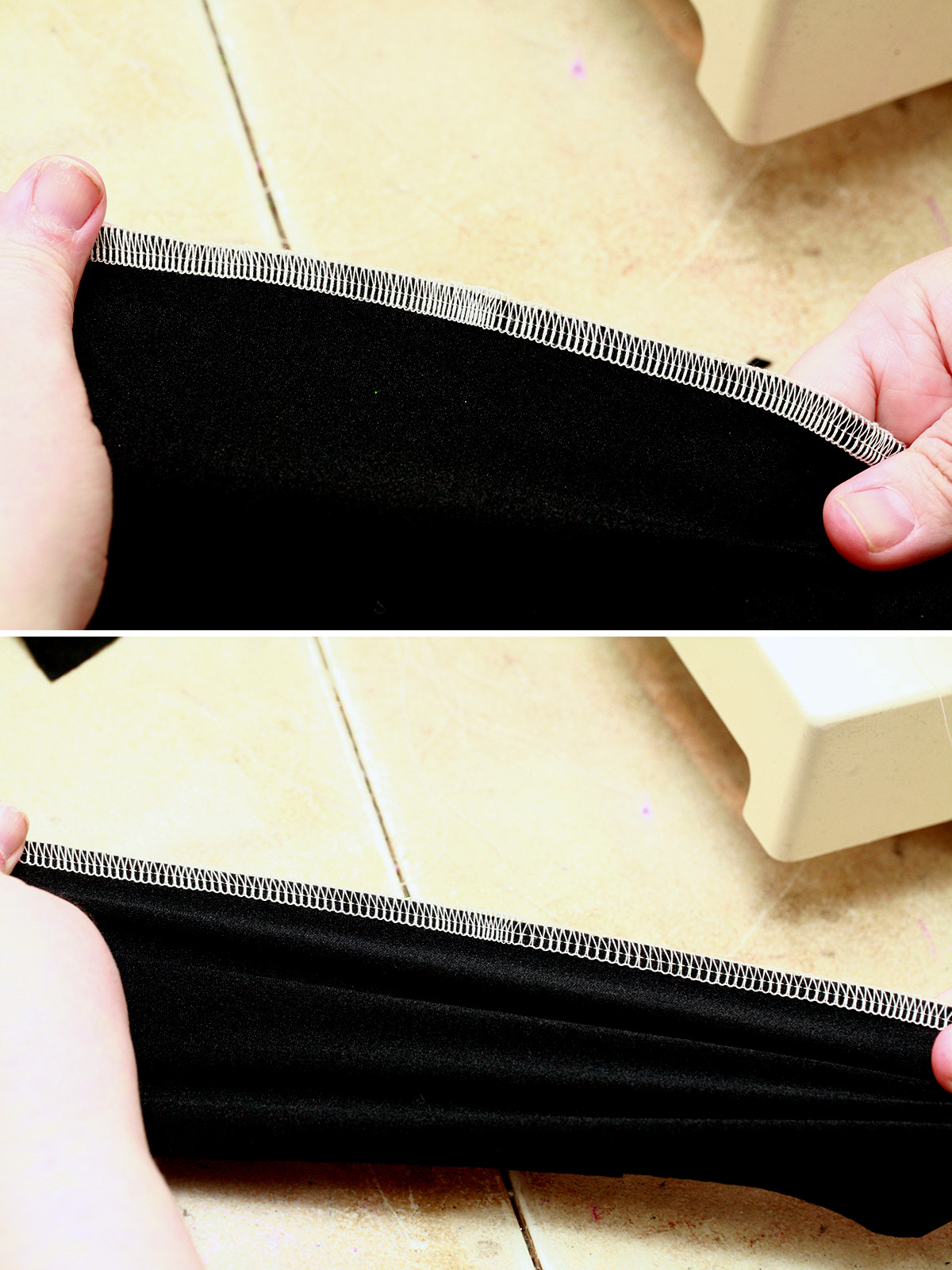 A two aprt compilation image showing a serger seam on a piece of black spandex. The top image shows it unstretched, the bottom image shows it stretched.