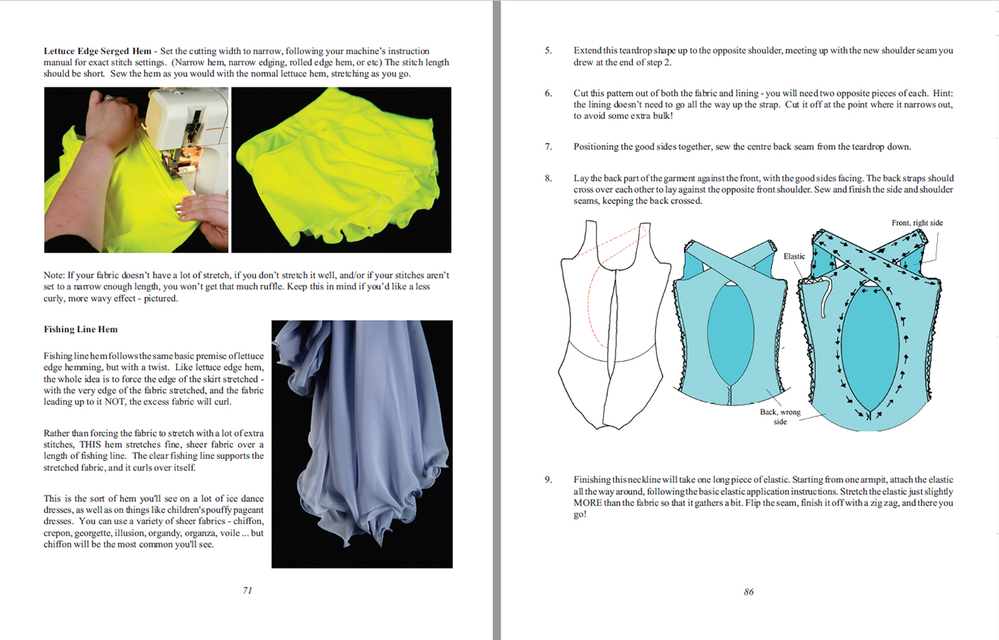 A scan of two sample instruction pages from Sewing for Skaters.