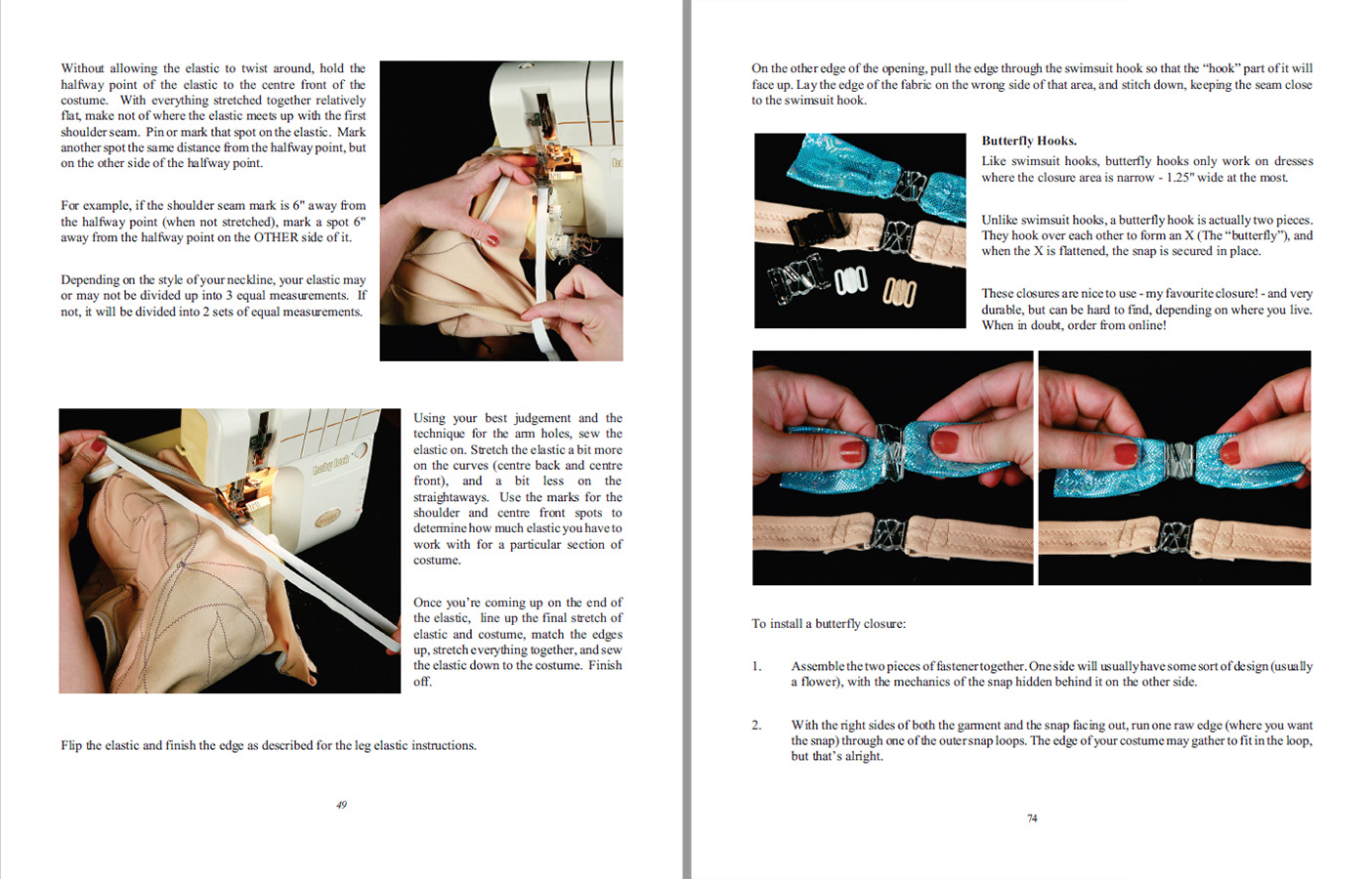 A scan of two sample instruction pages from Sewing for Superheroes.