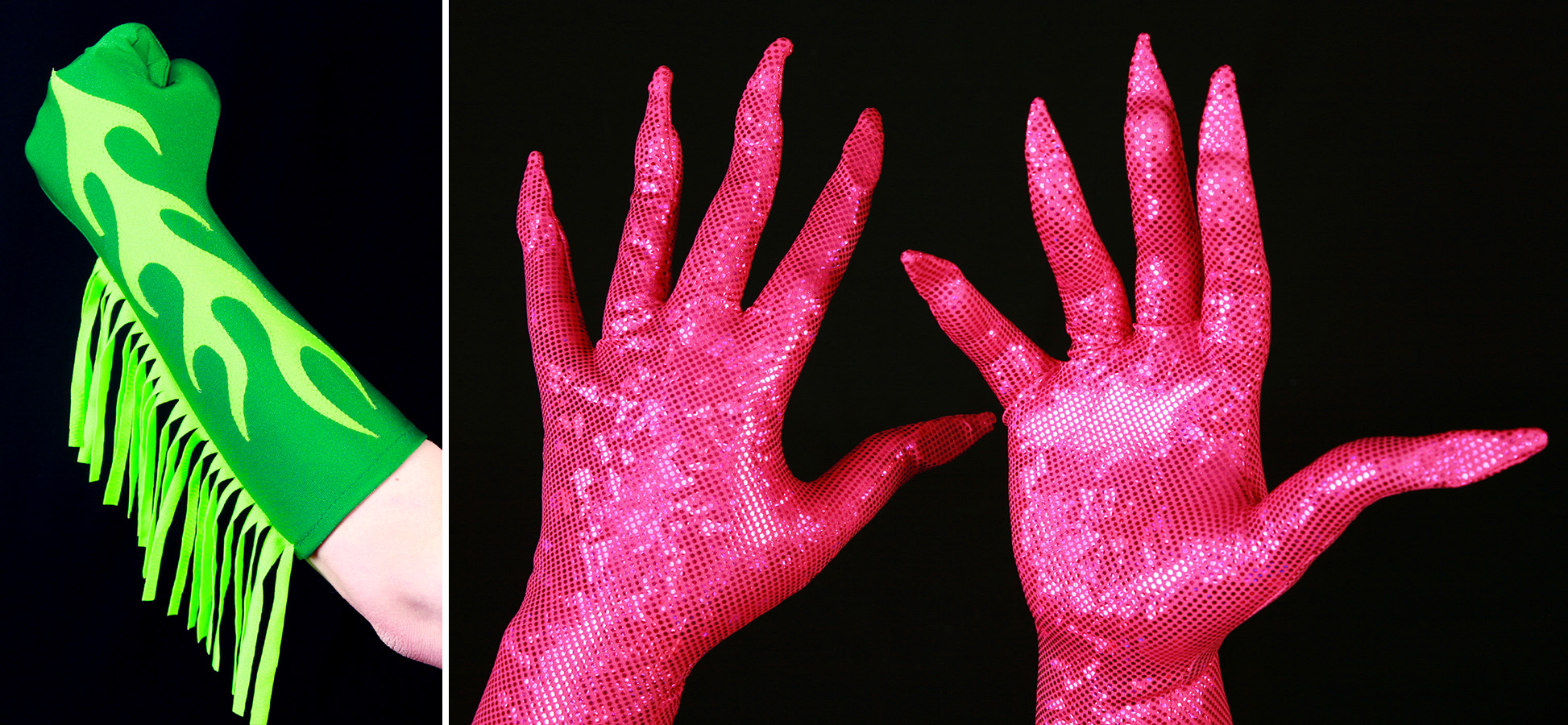 2 photos of gloves - one is a bright green glove with neon yellow flames on top - and neon yellow fringe up the side.  The second is a pair of fuchsia hologram gloves with built in nails.
