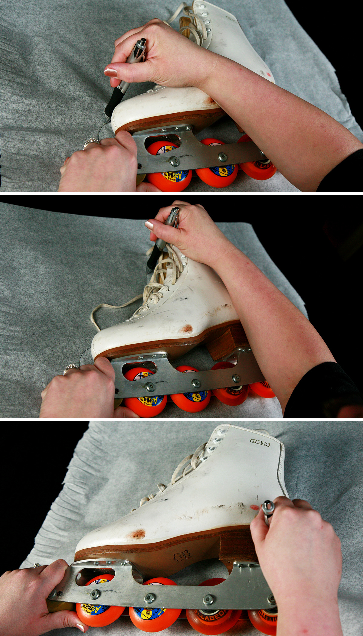 A three photo compilation image. It shows a white inline roller figure skate is pictured against a sheet of translucent white paper, being traced.