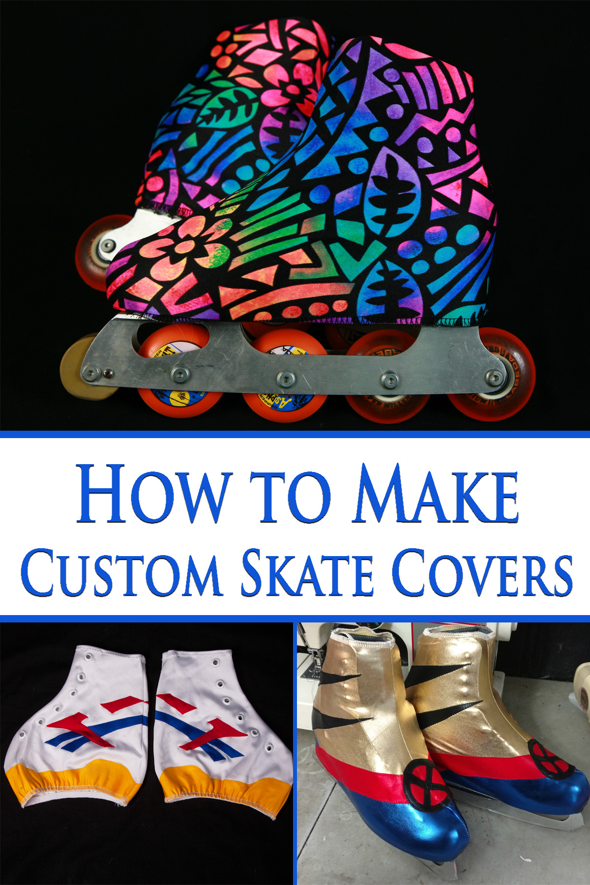 A 3 photo compilation image. It shows 2 pairs of skates with colourful skate covers on them, and a 3rd pair of skate covers against a black background.
