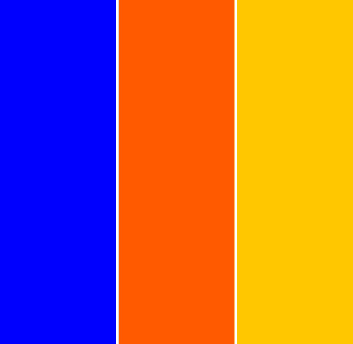 3 vertical bars of colour: Blue, red-orange, and yellow-orange