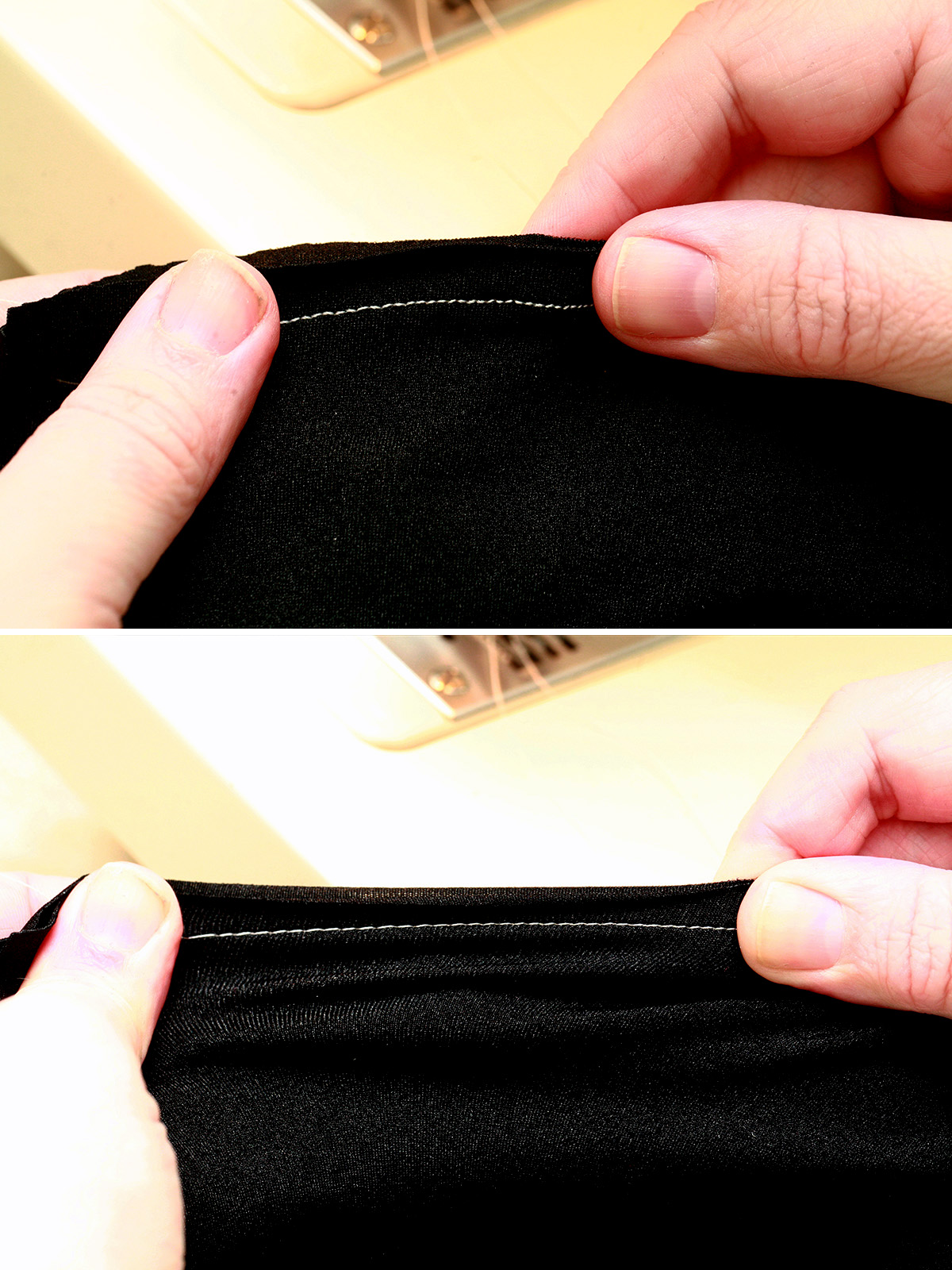 A two part compilation image, showing a pair of hands stretching a seam that's been sewn into a piece of black spandex.