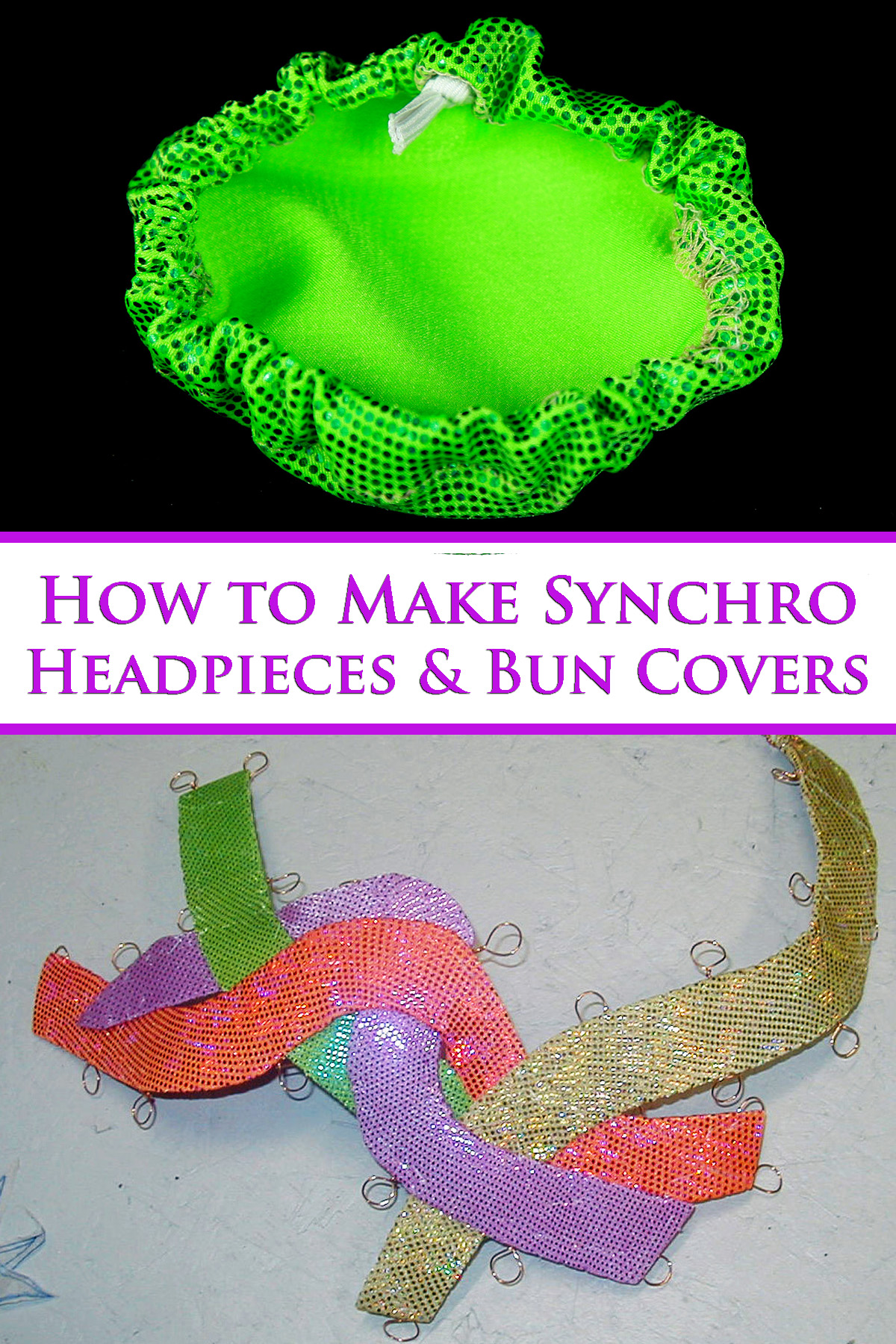 A two photo compilation image, showing a bright green synchro bun cover, and a brightly coloured, mulito-colour synchro headpiece.