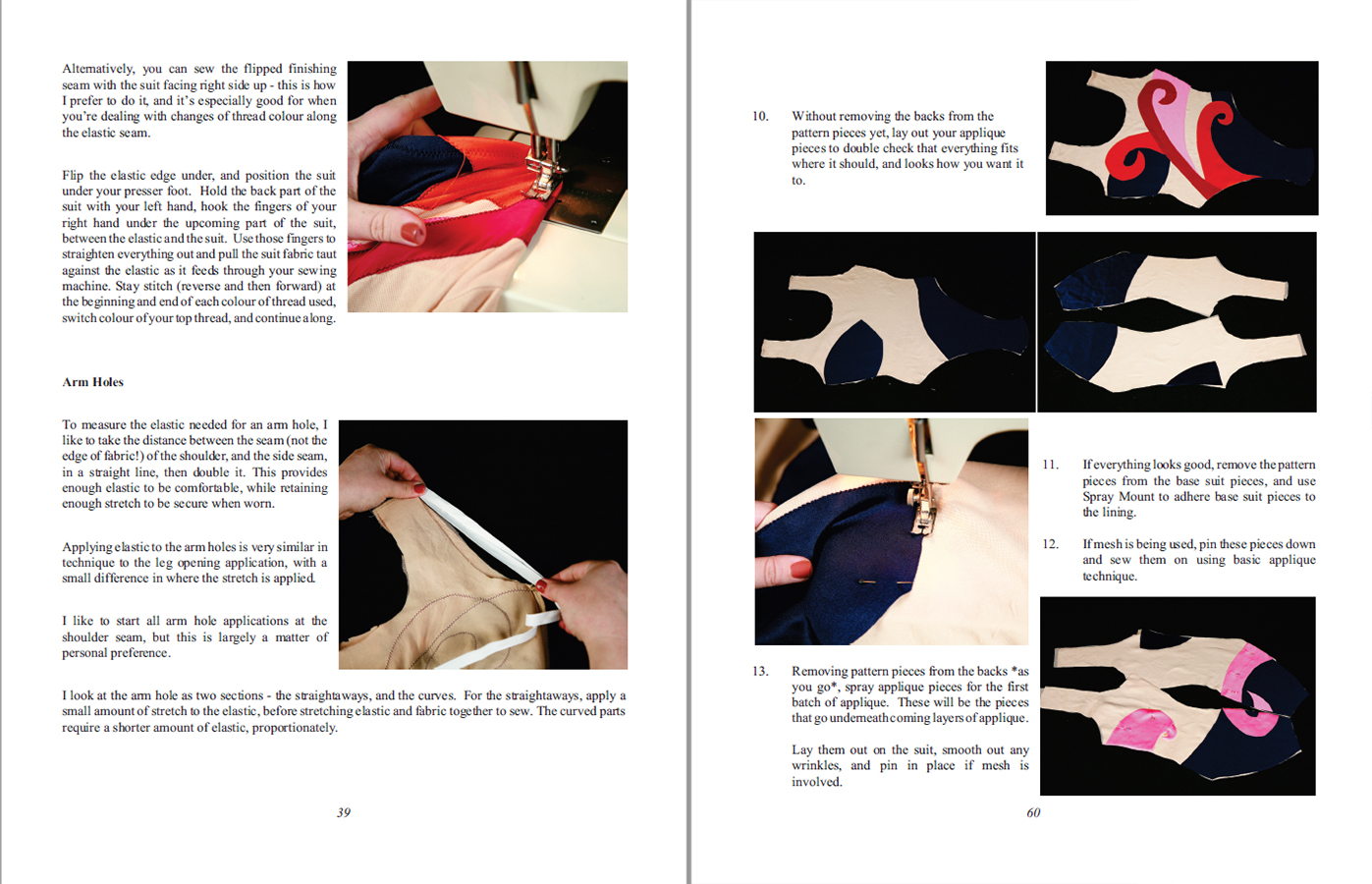 A scan of two sample instruction pages from Synchro Swimwear.