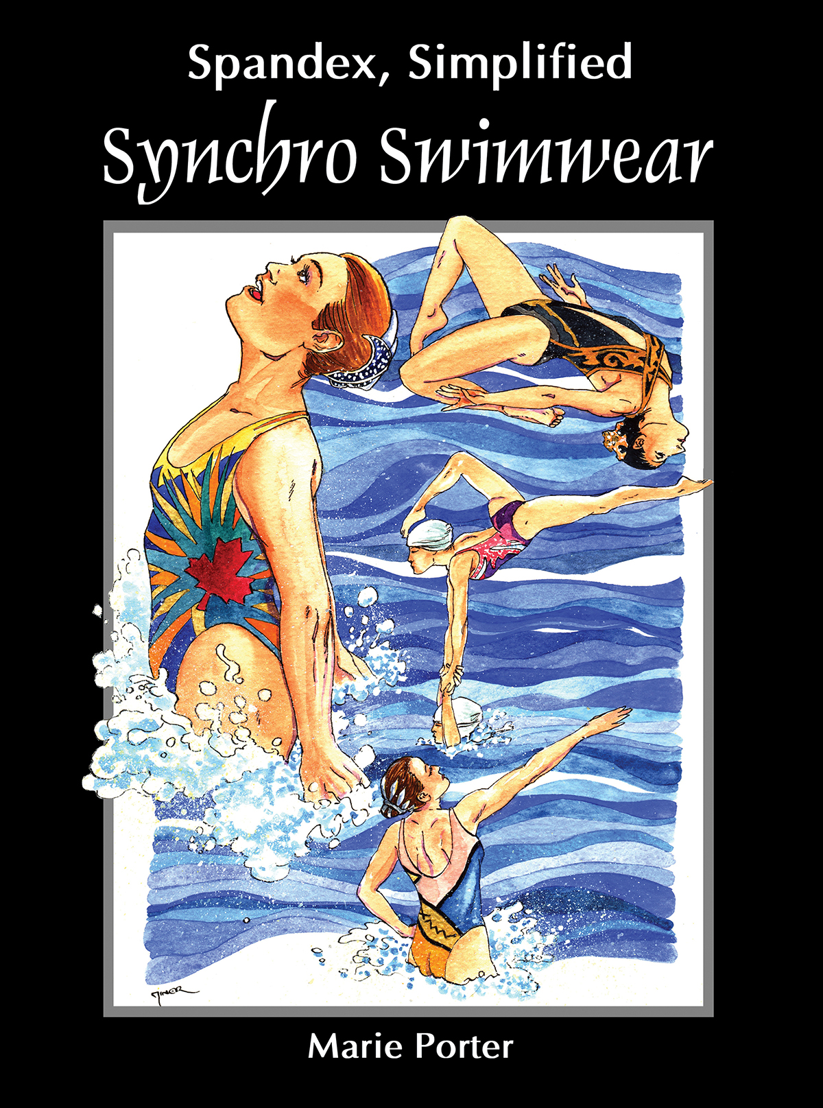 The cover image for Synchro Swimwear. A watercolour painting of 4 synchro swimmers in action, with a black border and white lettering.
