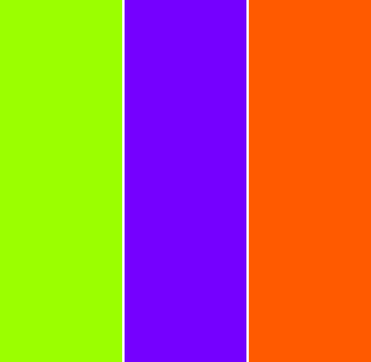 3 vertical bars of colour: yellow-gree, blue-violet, and red-orange