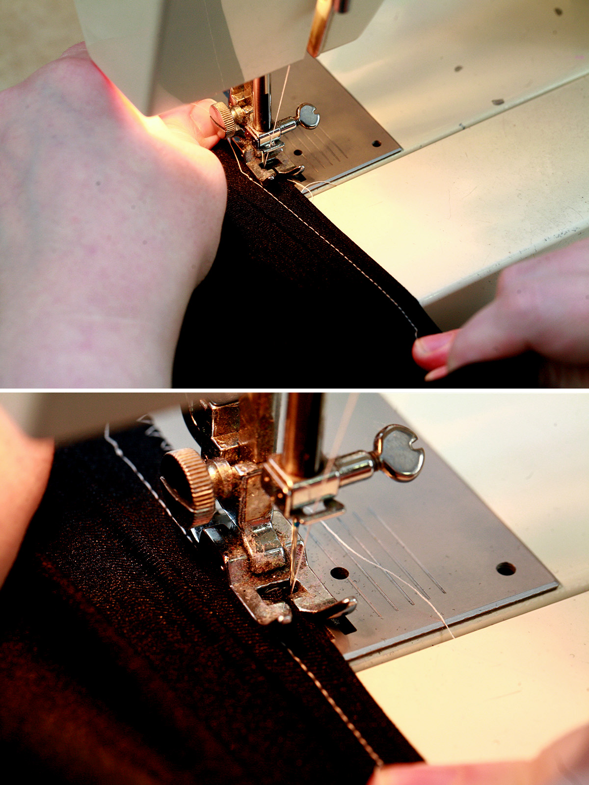 A two piece compilation image, showing a piece of black spandex fabric being guided through a sewing machine.