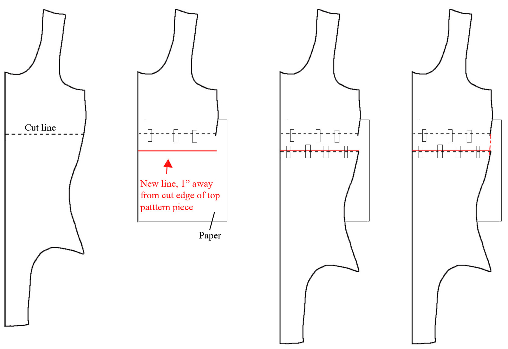 A hand dran diagram showing how to add length to a pattern.