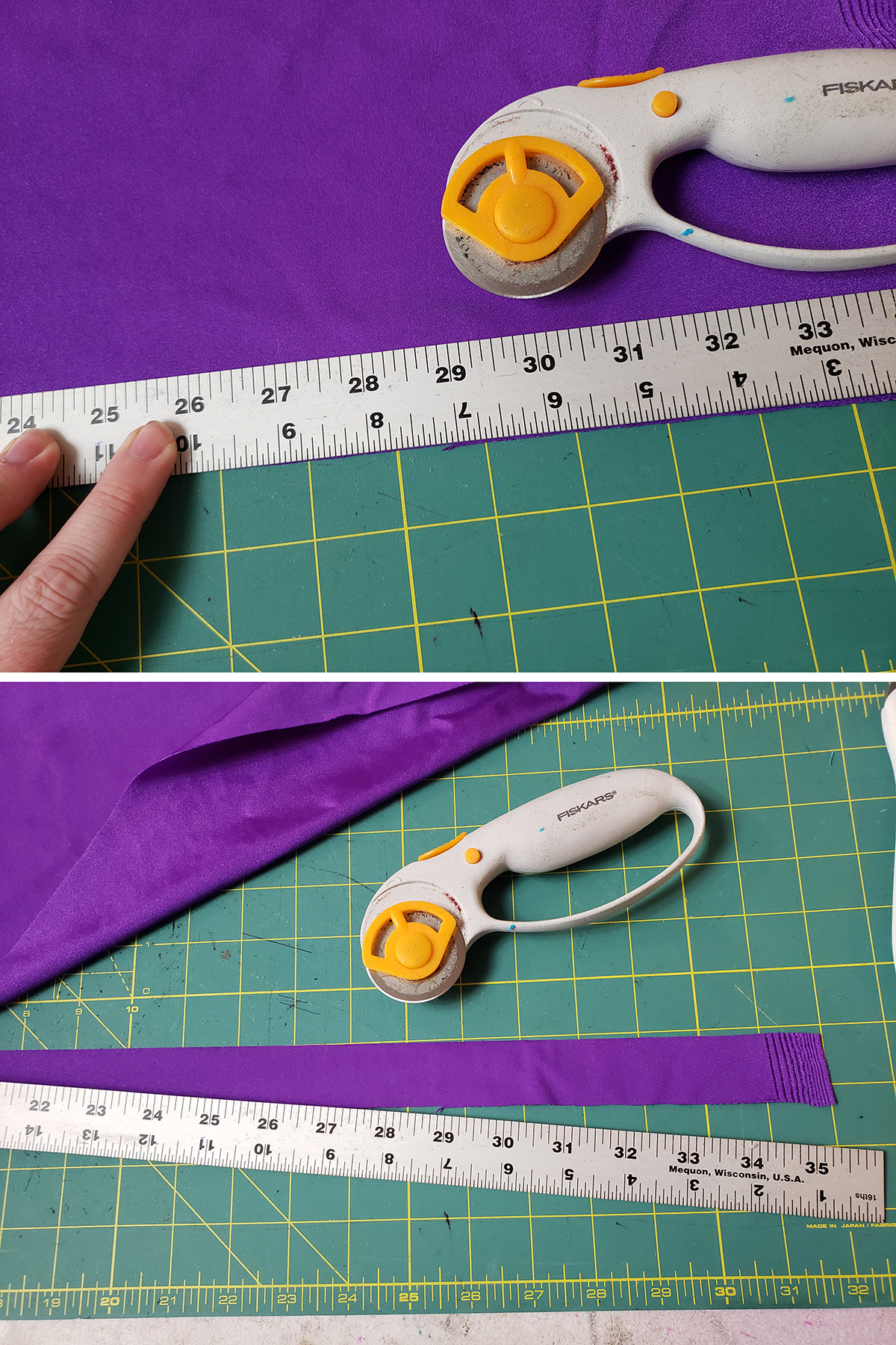A two part compilation image showing purple spandex being cut into strips with a ruler and rotary cutter.