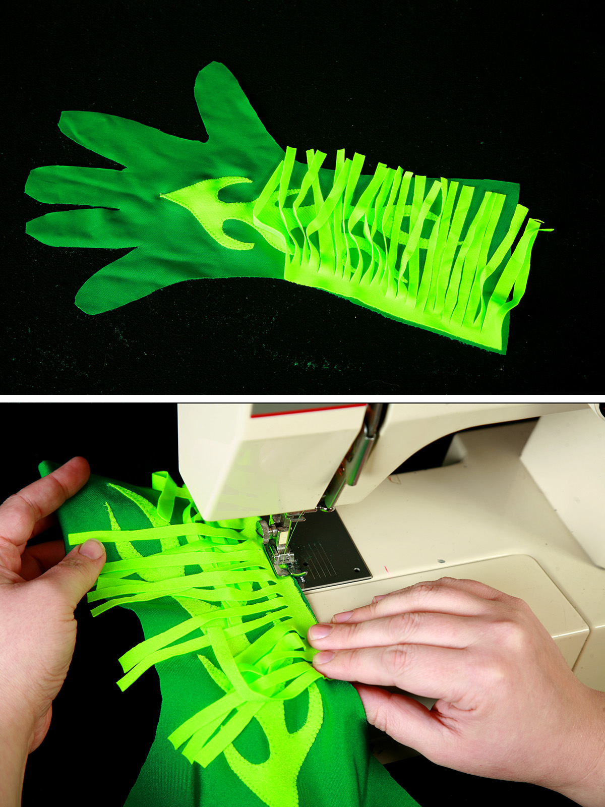 A two part compilation image showing neon green spandex frige being sewn into a darker green glove.