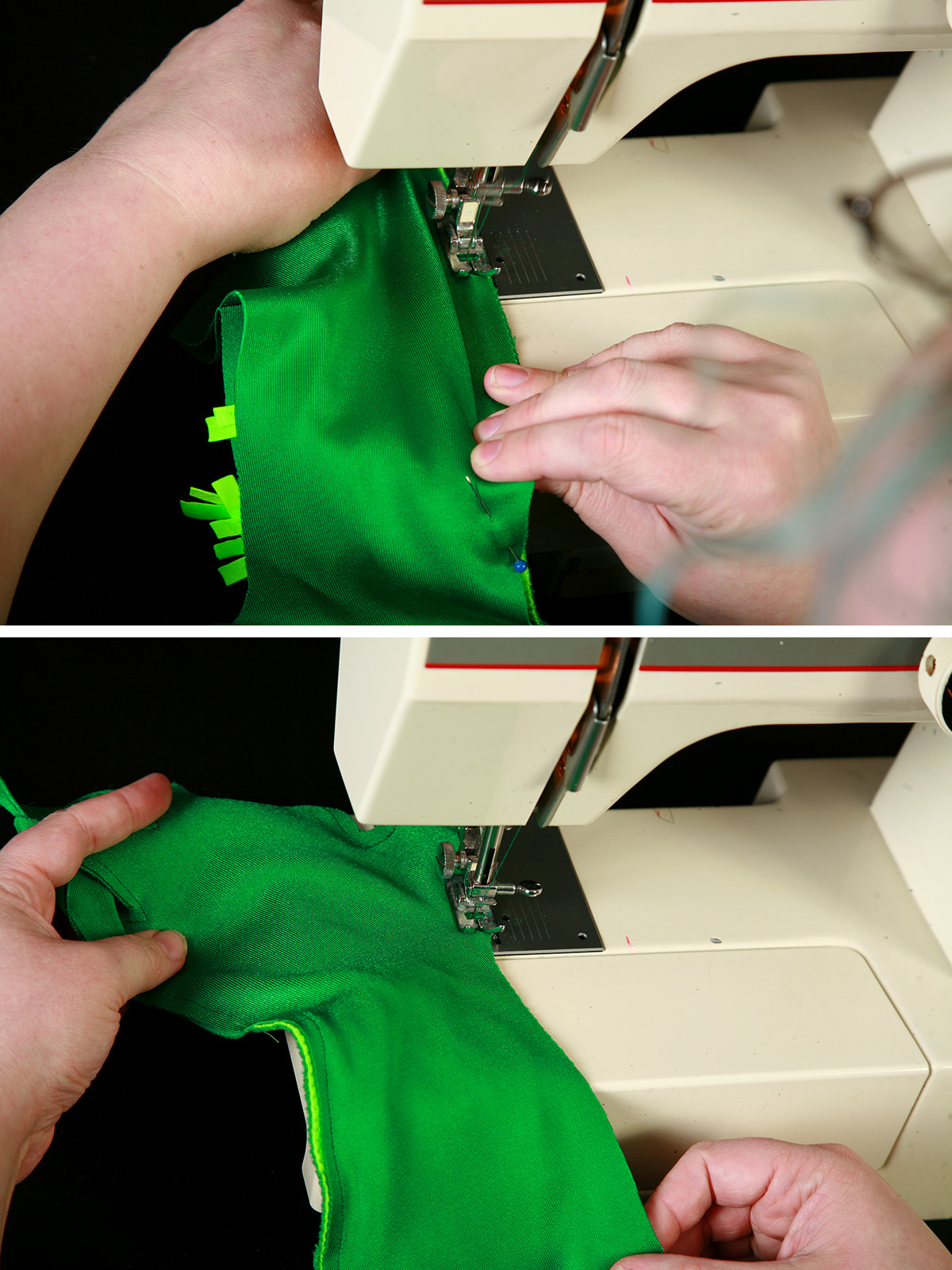 A two part compilatiom image showing a dark green glove being sewn in a sewing machine.