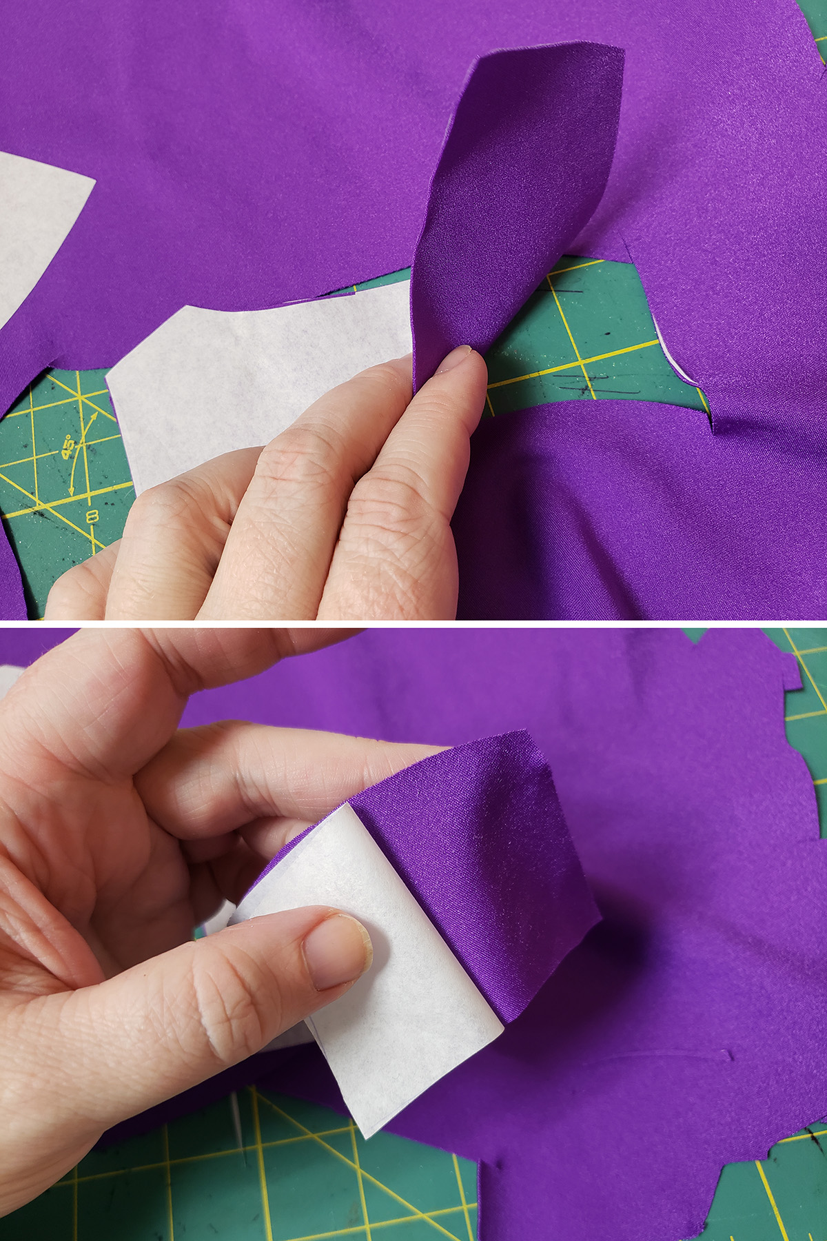 A two part compilation image showing pattern pieces being cut out from purple spandex.