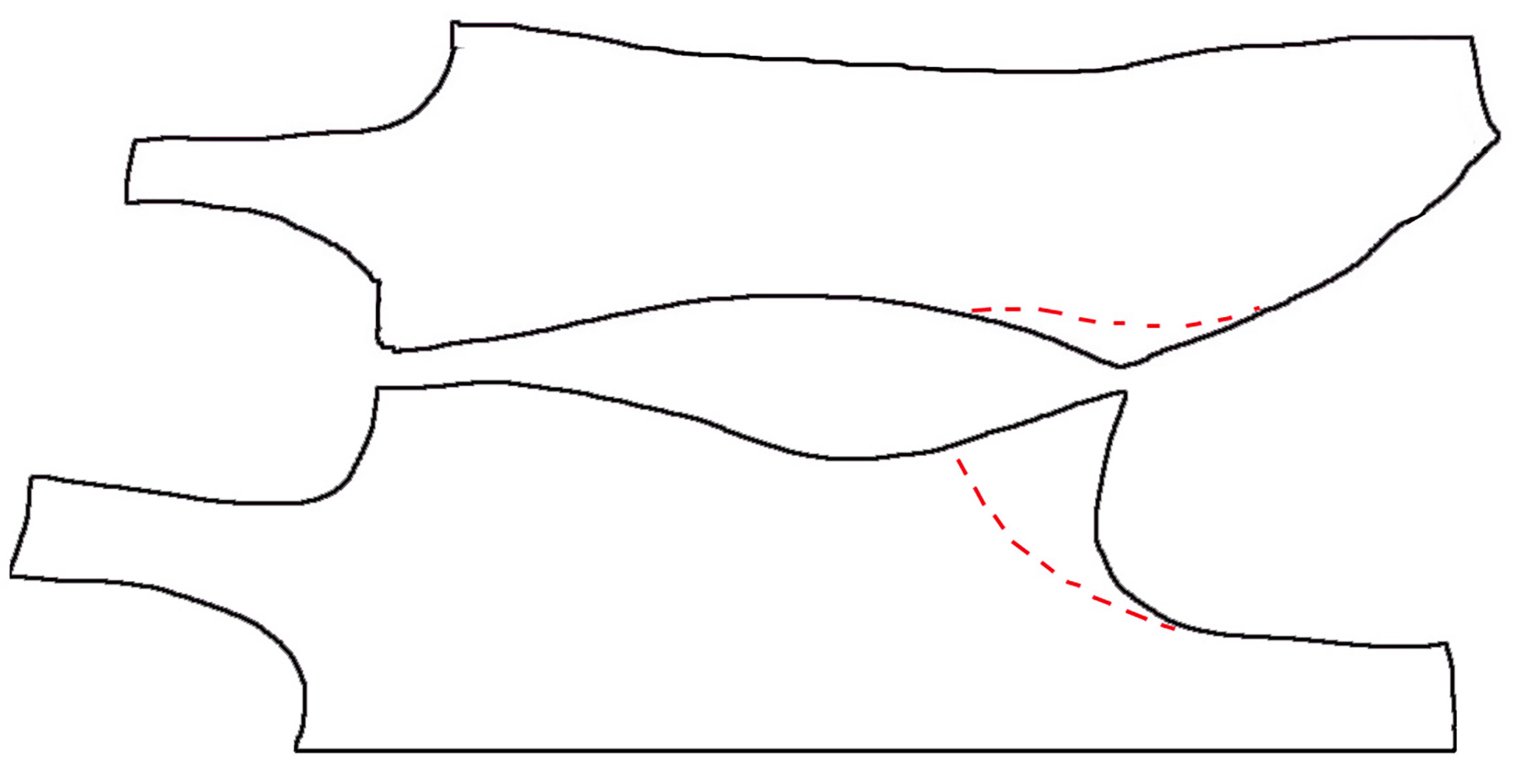 A hand drawn diagram showing how to alter a pattern for a higher leg opening.