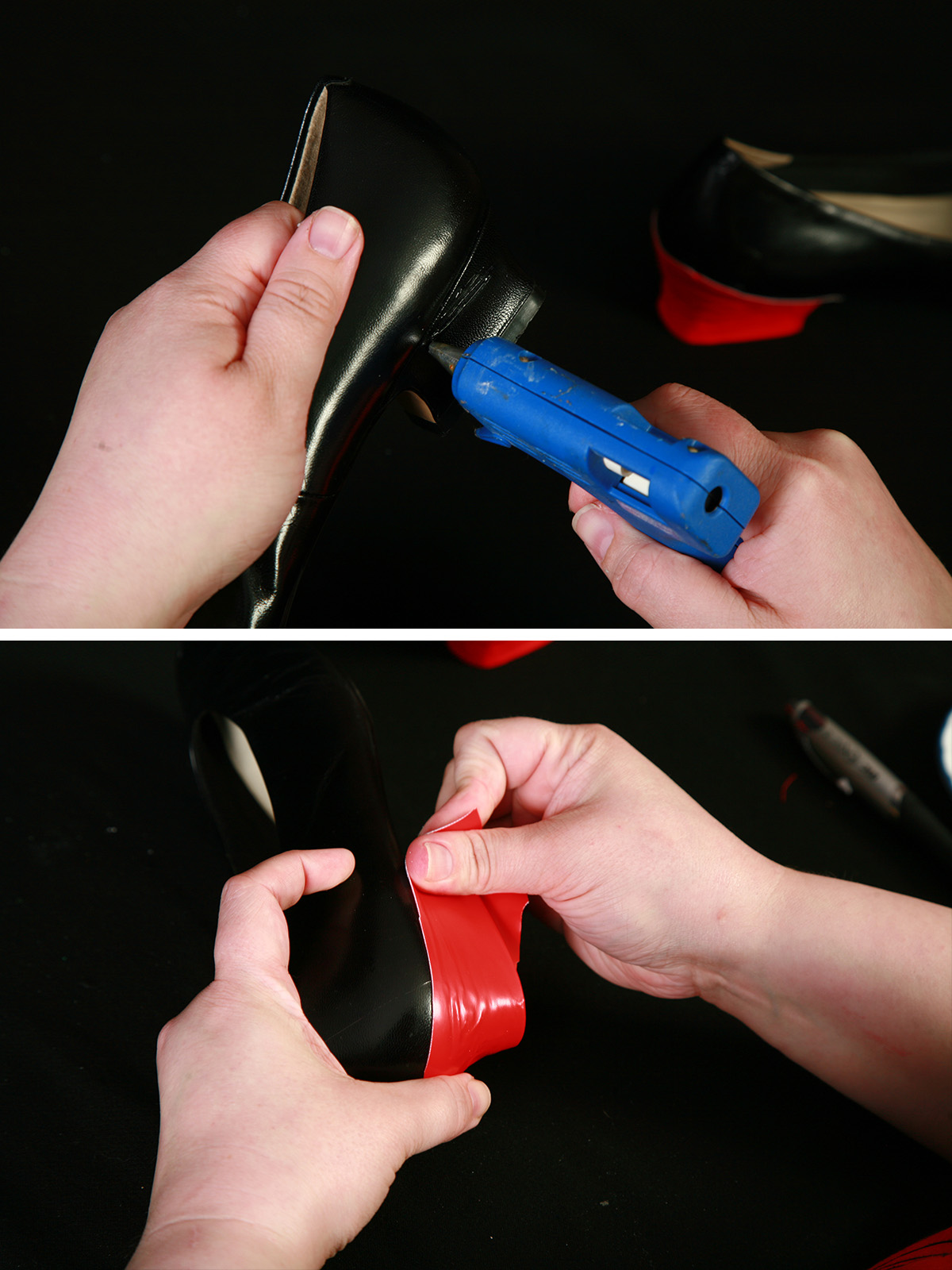 A two part compilation image showing a glue gun applying glue to the heel of a shoe, and hands stretching red fabric over the heel of that shoe.