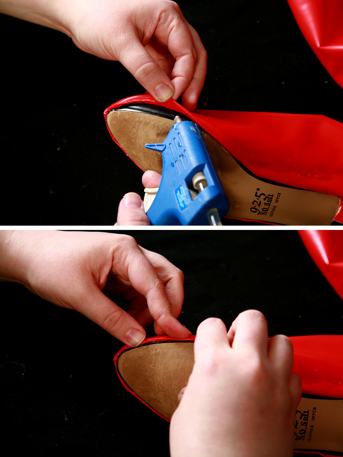 A two part compilation image showing a shiny red boot cover being stretched over a black shoe and being glued into place.