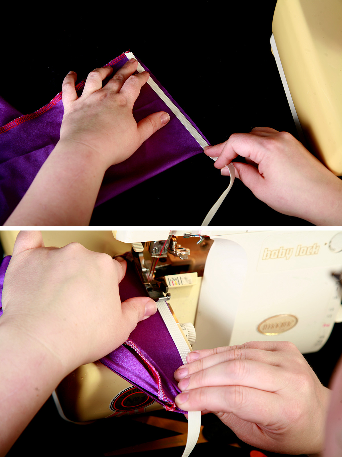 A 2 photo compilation image showing elastic being sewn into the top of a spandex boot cover.