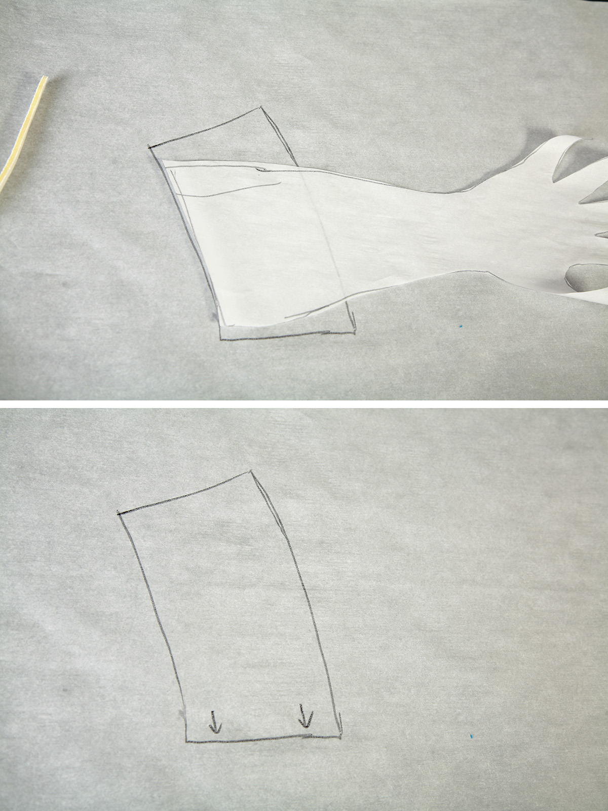A two part compilation image showing the drafting of a cuff pattern.