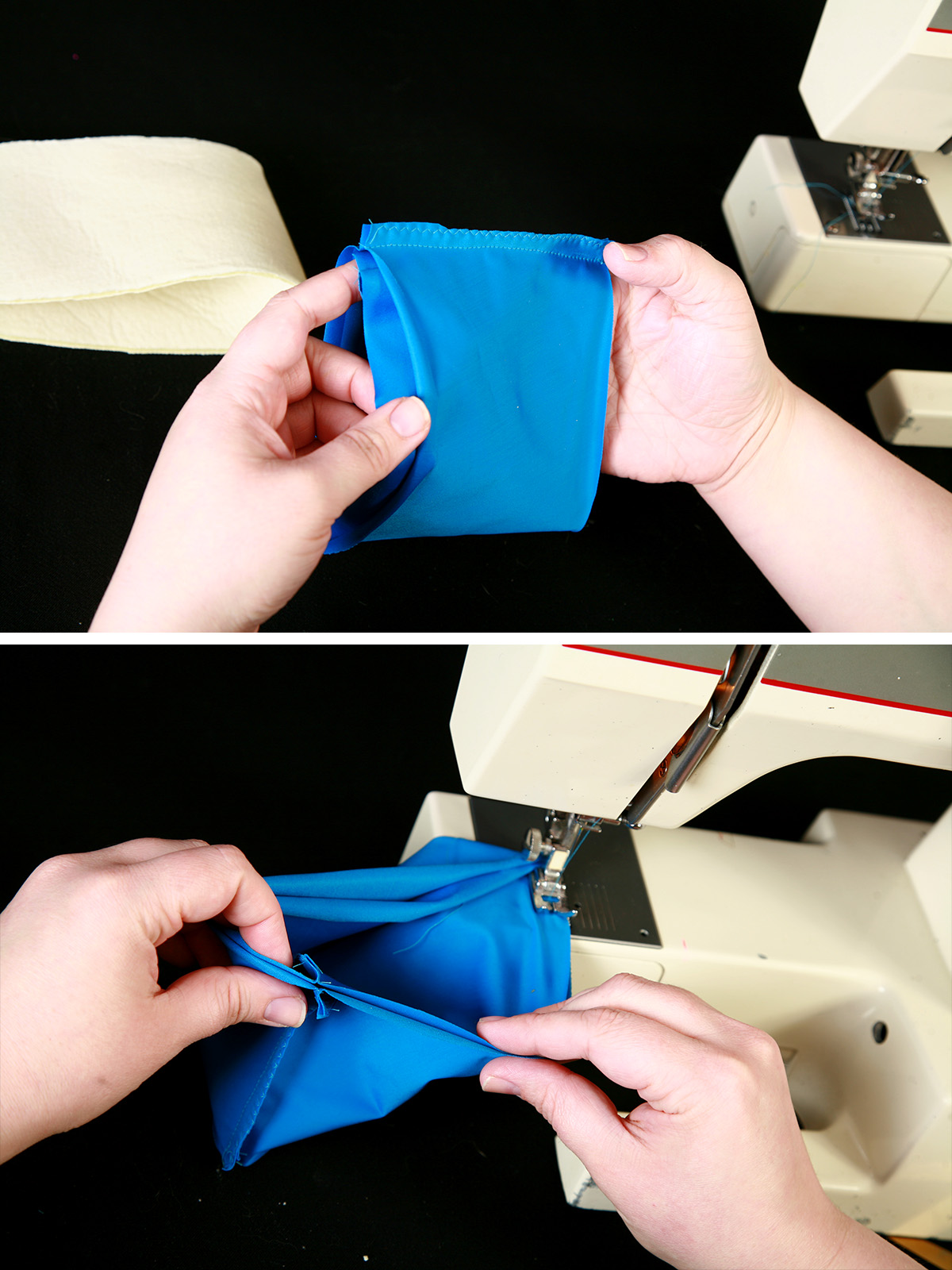 A two part compilation image showing two pieces of blue spandex being sewn to form a glove cuff.