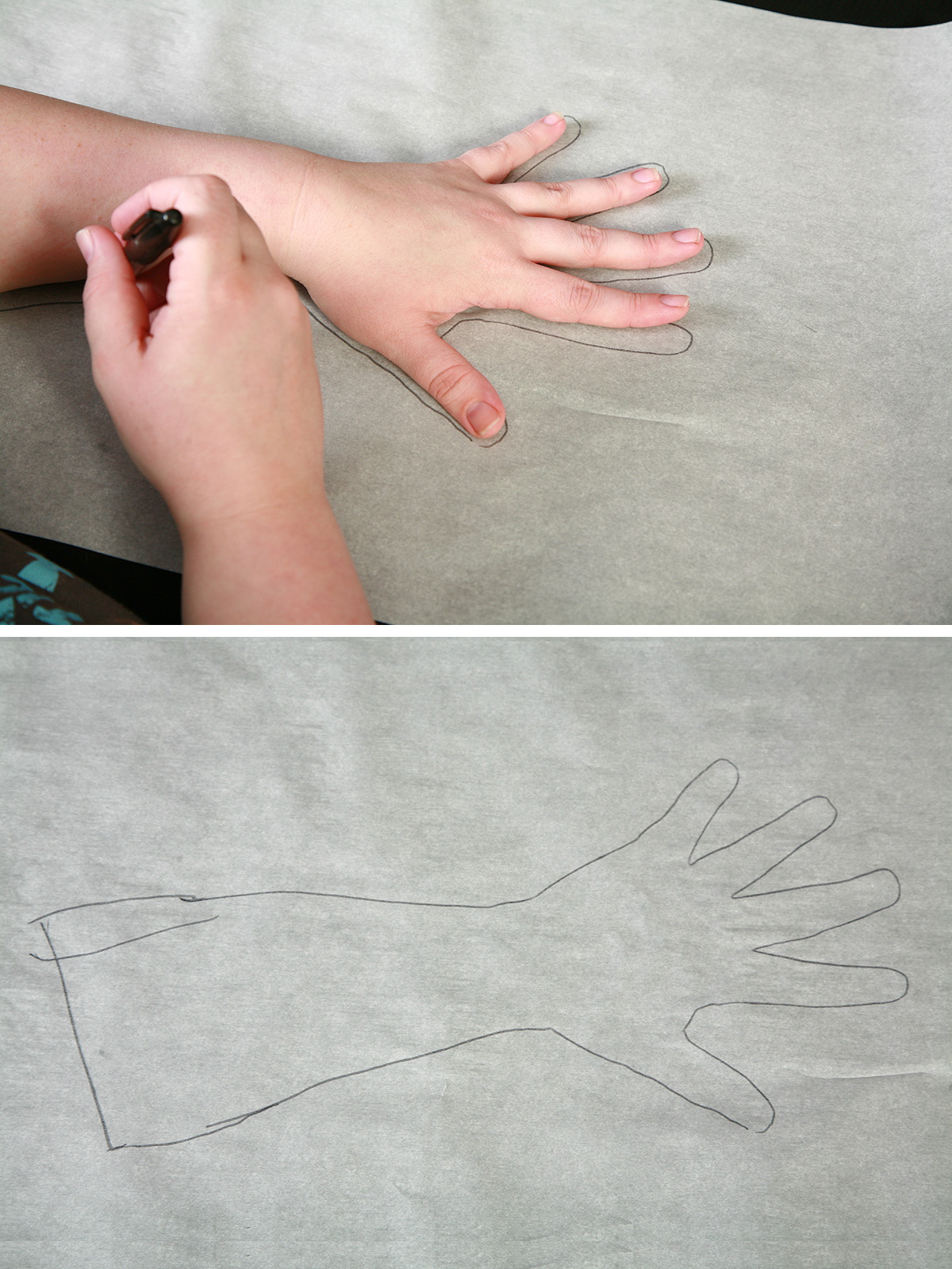 A two photo compilation image showing a hand being traced, and the tracing of the hand.