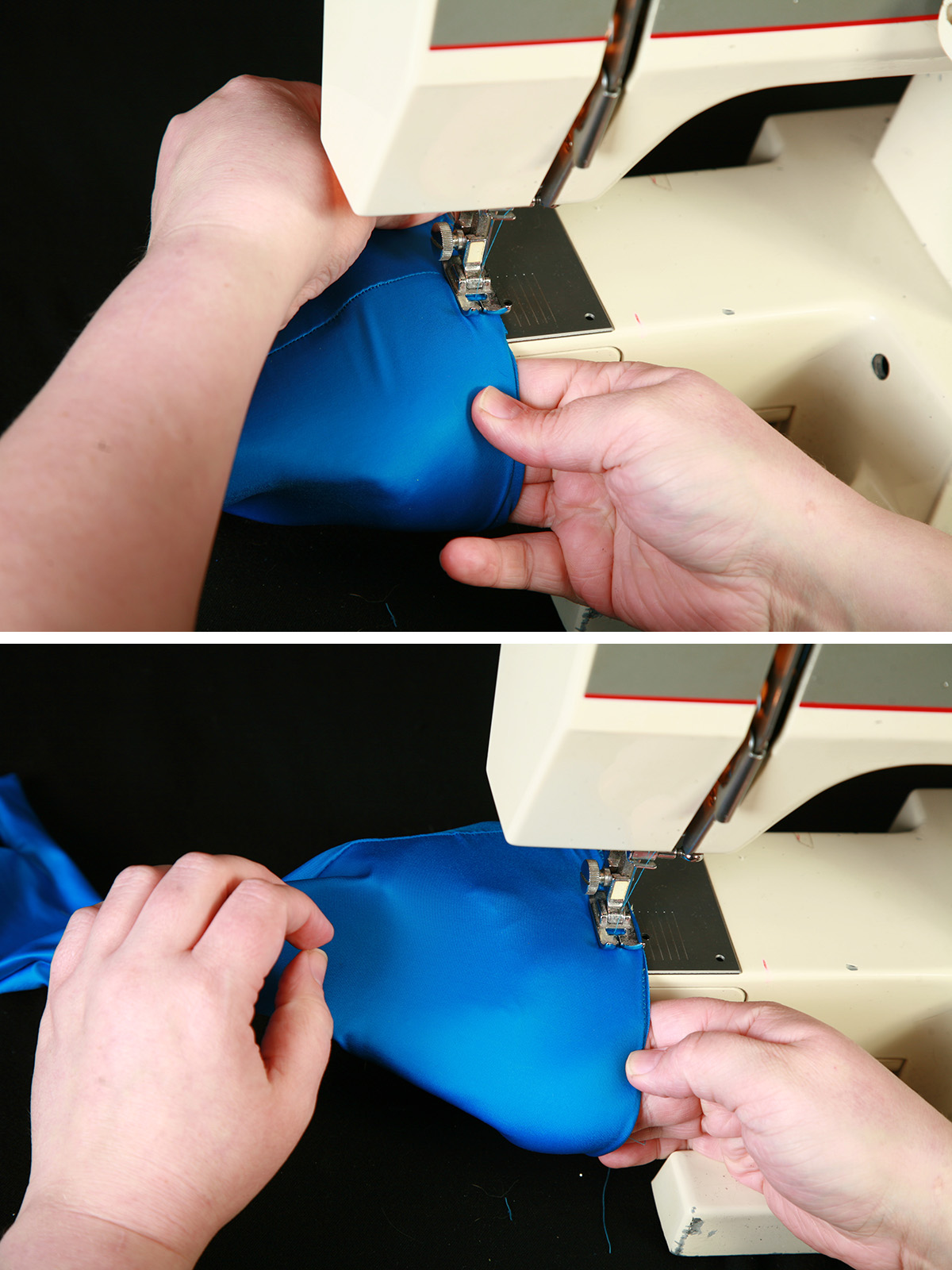 A two part compilation image showing the cuff being sewn to the blue spandex glove.