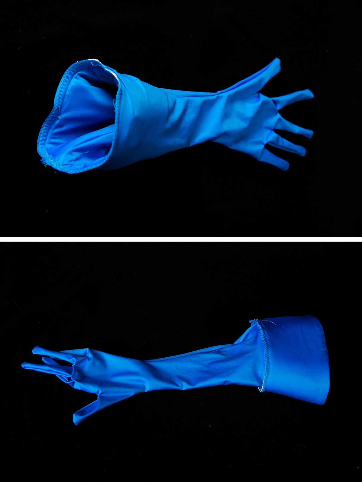 A two part compilation image showing the glove with the cuff still inside, and with the cuff pulled out.