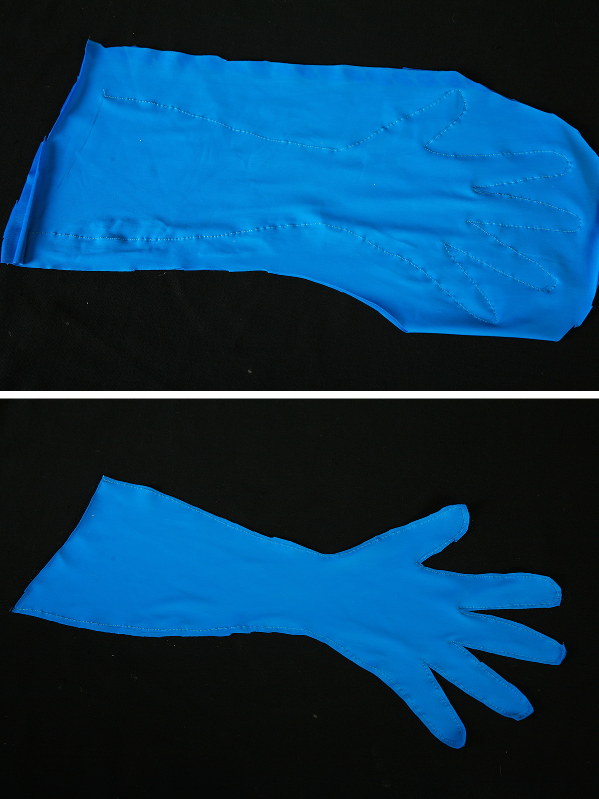A two part compilation image showing a blue spandex glove, before and after being trimmed.