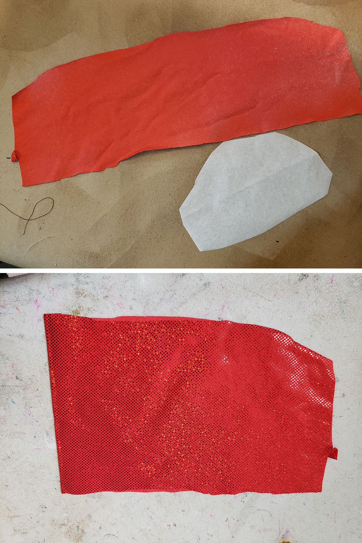 A two part compilation image showing red spandex being sprayed with glue, then folded over on itself.