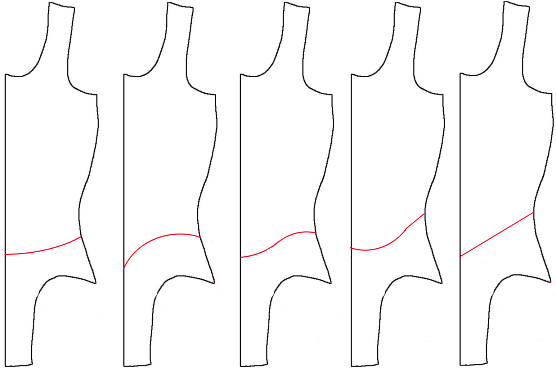 A hand drawn diagram showing various skirt placement options.