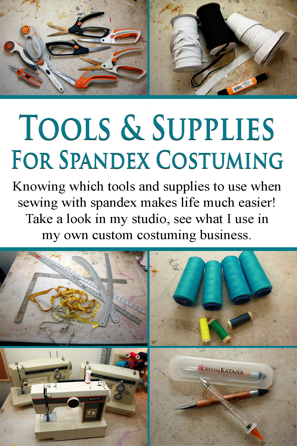 A compilation photo showing 6 images of various tools and supplies needed for sewing spandex.  Included are thread, rulers, sewing machines,elastic, and scissors.