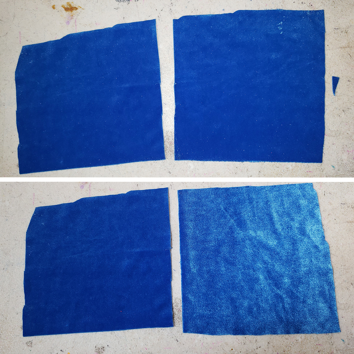 A two part compilation image showing squares of blue velvet from various views.