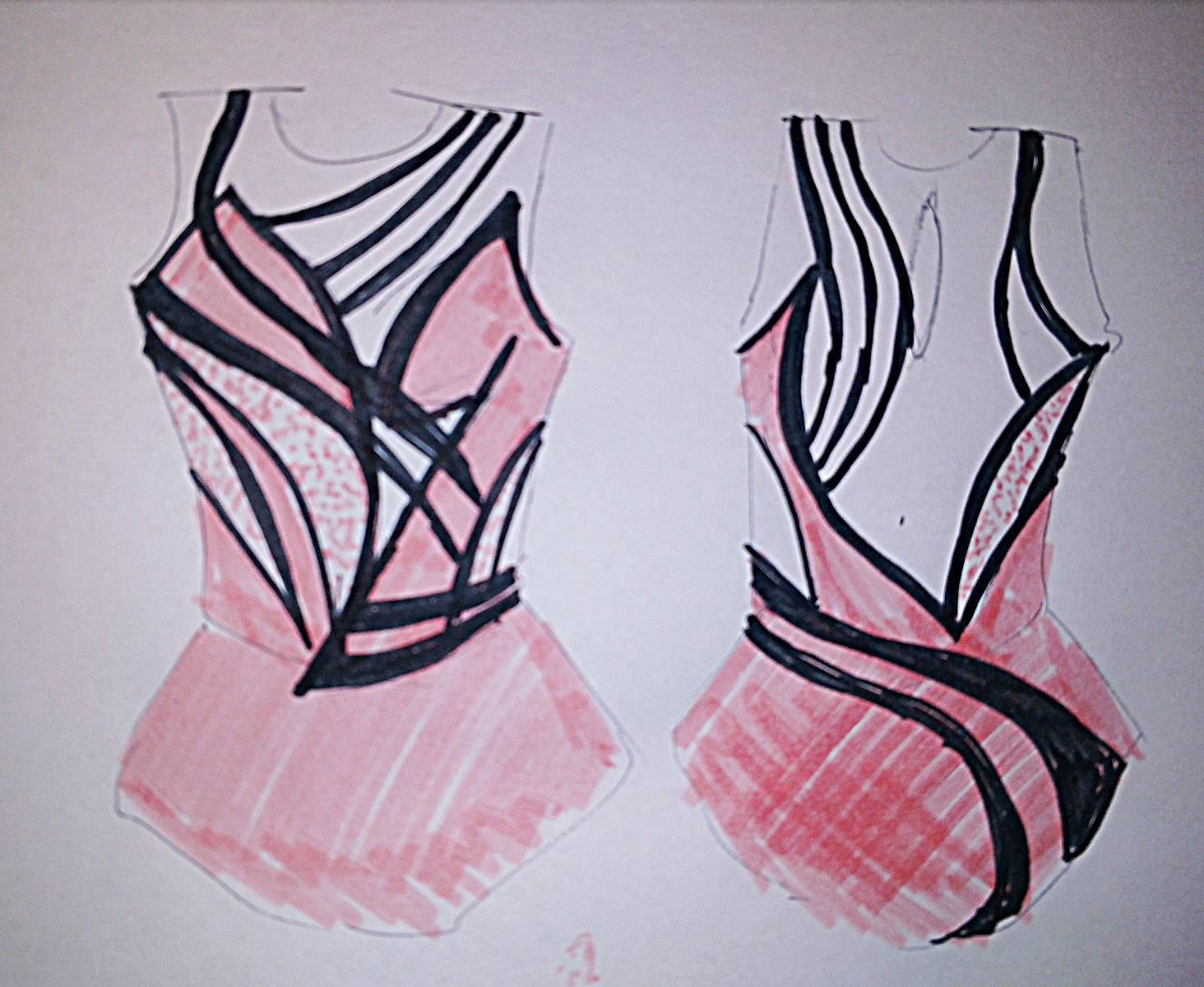 A sketch of a figure skating dress, both front and back representations. The dress is pink, with many swirling black lines running across it.