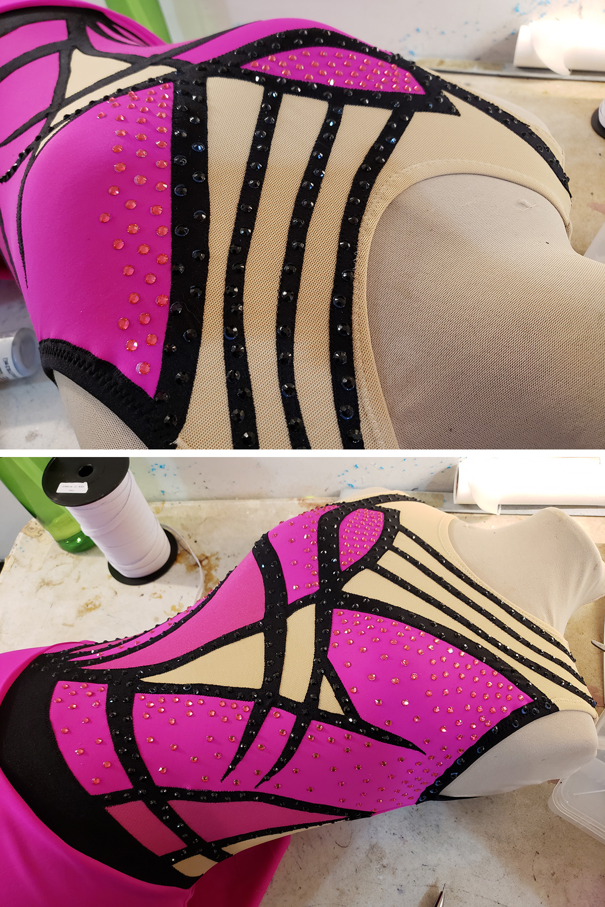 A two part compilation image showing the pink and black skating dress on a beige coloured dress form. Crystals have been applied to the pink and black spandex sections.