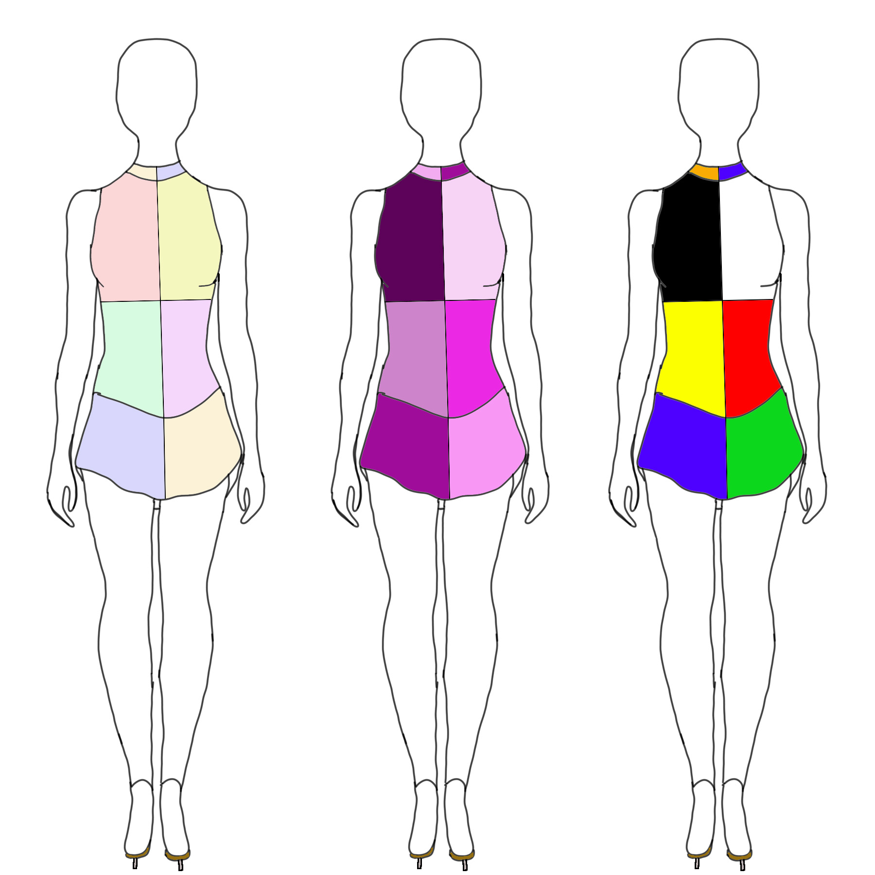 Sketches of a blocky figure skating dress, with 3 different colour schemes.
