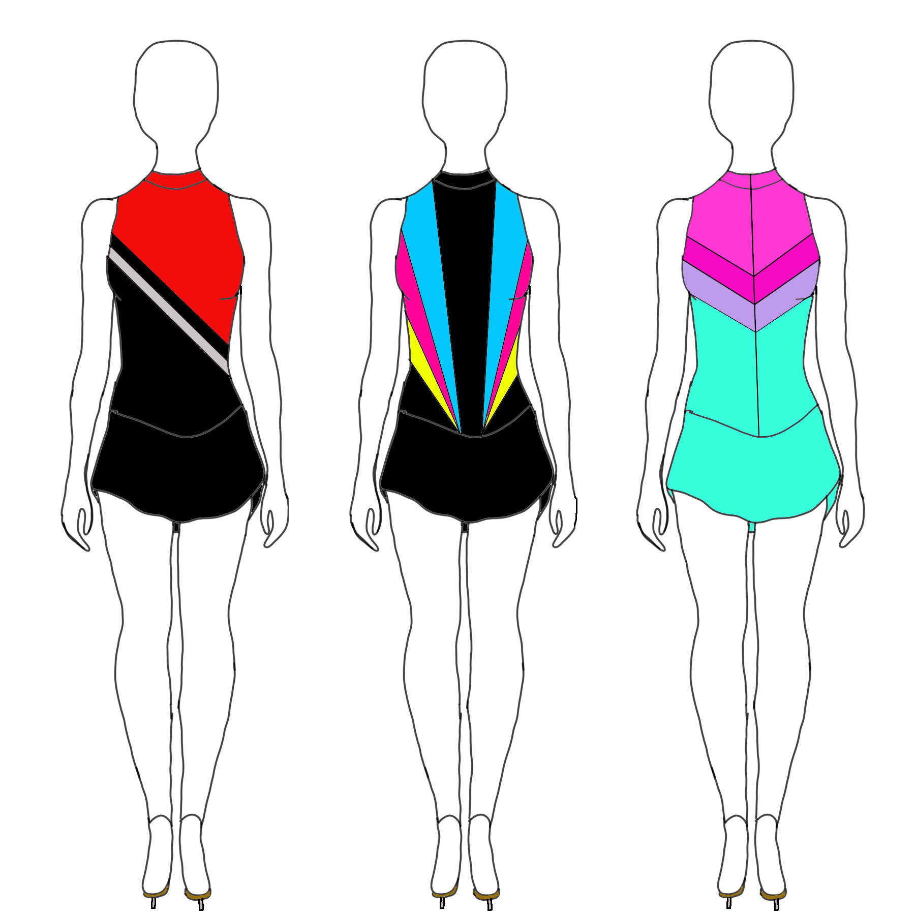 3 sketches of brightly coloured skating dresses.