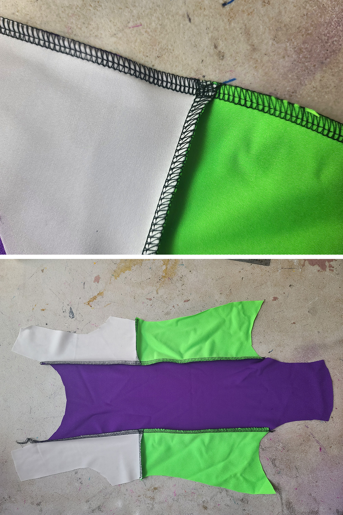 A two part compilation image showing the underside of a seam between the white and green pieces, with the seam sewn over towards the green side.