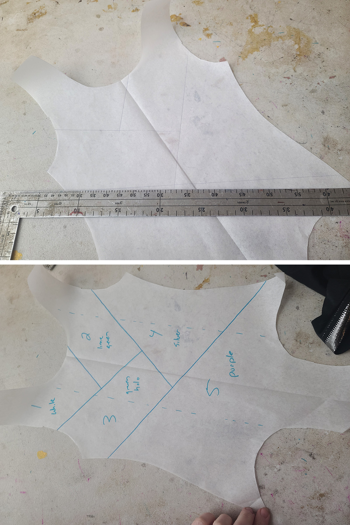 A two part compilation image showing design lines being drawn onto a leotard front pattern.