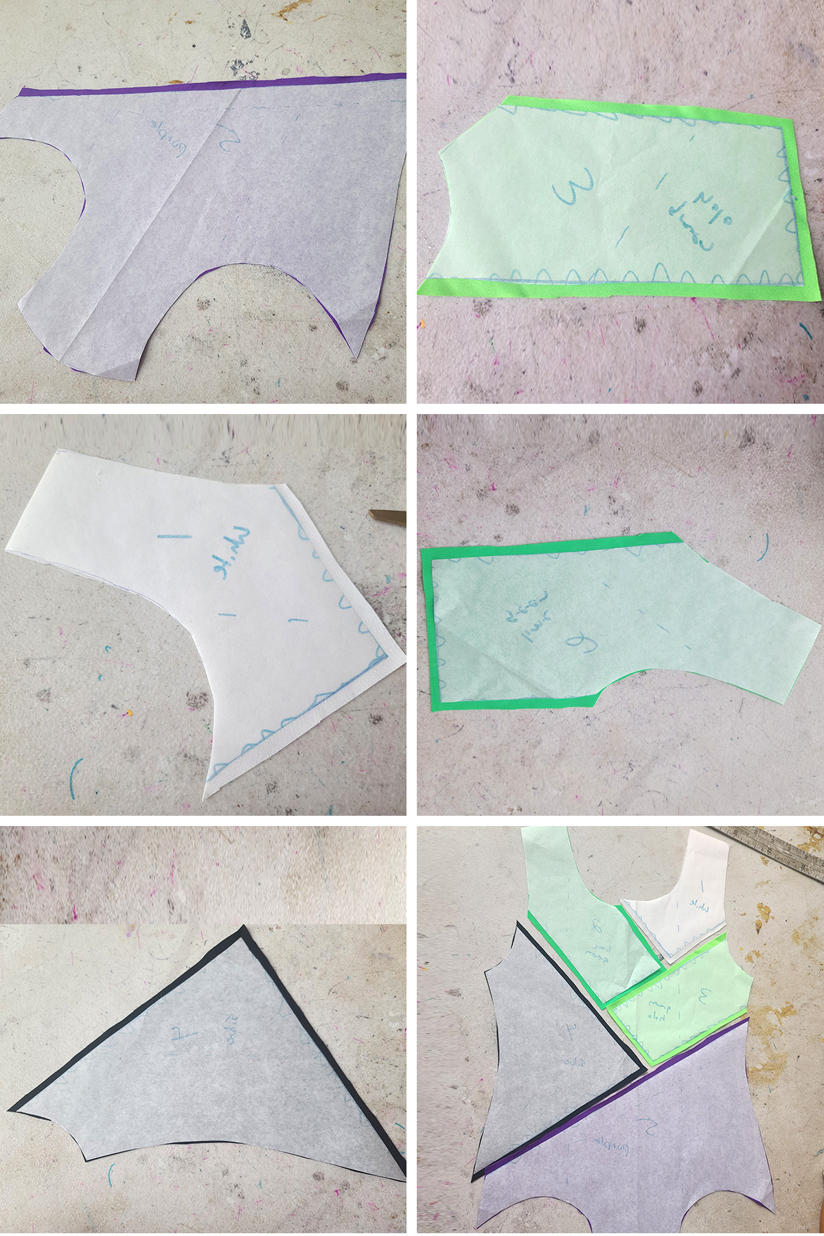 A 6 part compilation image showing the 5 pieces of leotard cut out, and finally placed together for colour blocking.