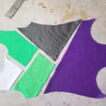 The 5 pieces of leotard front spandex placed together for colour blocking.
