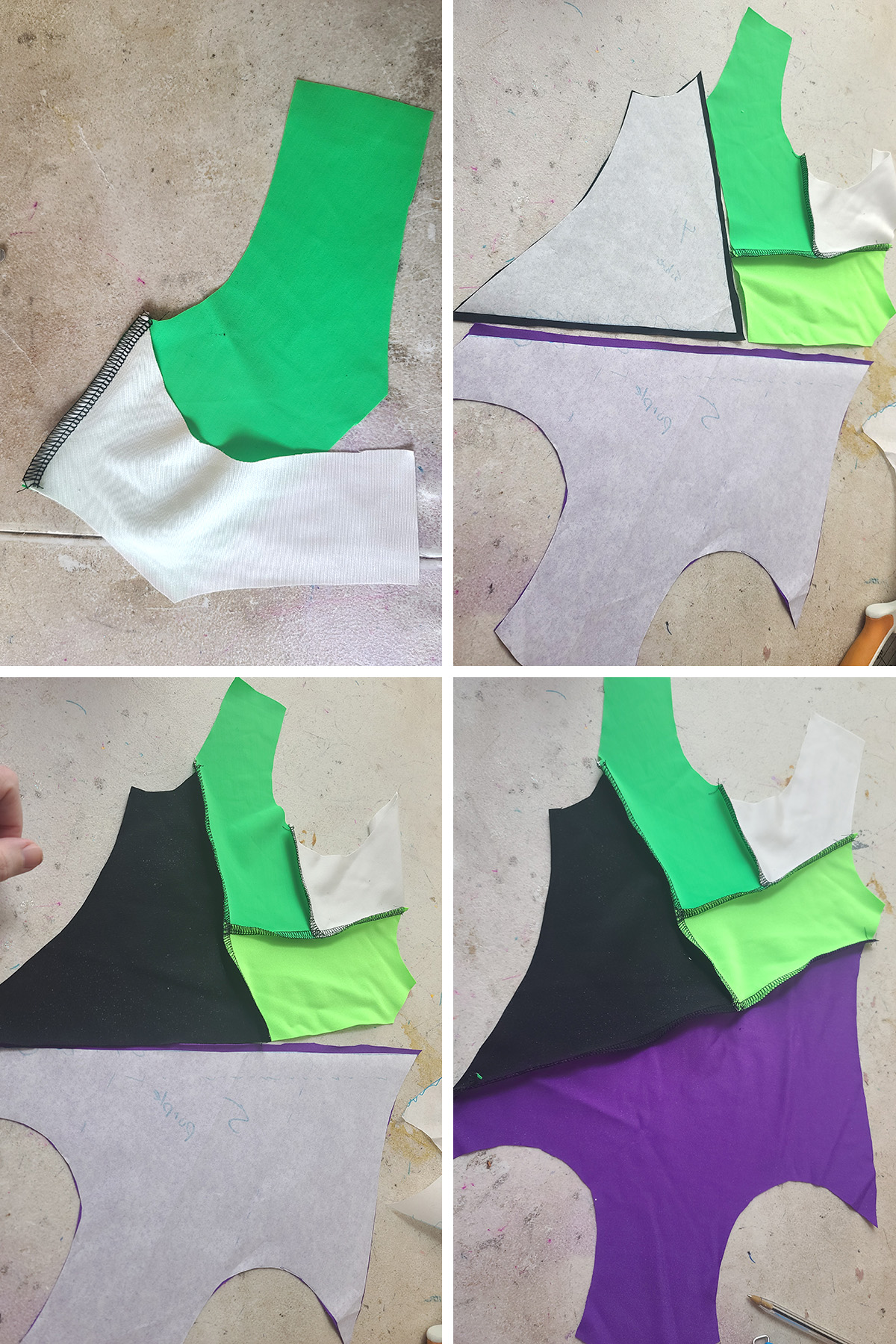A 4 part compilation image showing the various pieces of leotard sewn together - colour blocking.