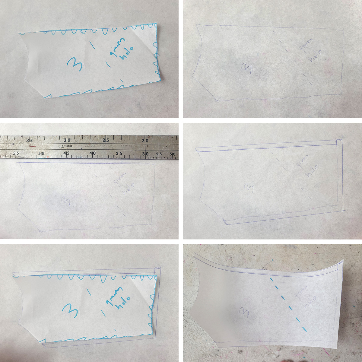 A 6 piece compilation image showing a piece of colour blocked pattern being traced onto a new sheet of paper, to add seam allowances.