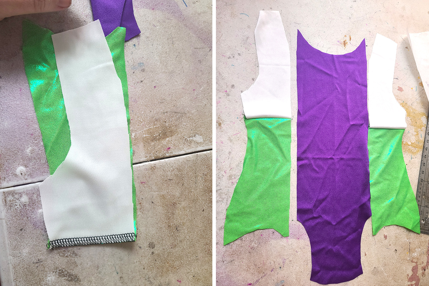 A two part compilation image showing a green piece being sewn to a white piece, then the leotard front laid out.